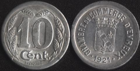 Эврё 10 сантим 1921