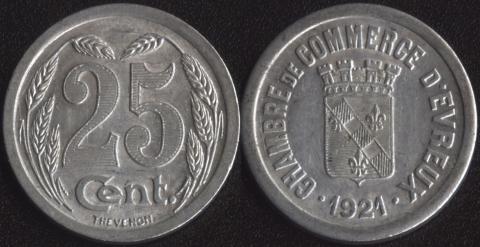 Эврё 25 сантим 1921