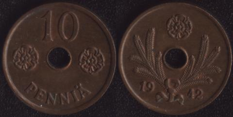 Финляндия 10 пенни 1942