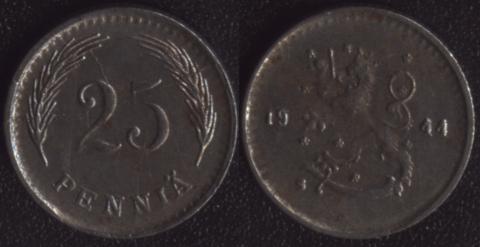 Финляндия 25 пенни 1944