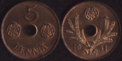 Финляндия 5 пенни 1941