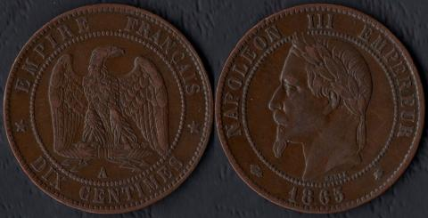 Франция 10 саннтим 1865