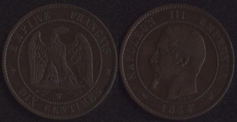 Франция 10 сантим 1854