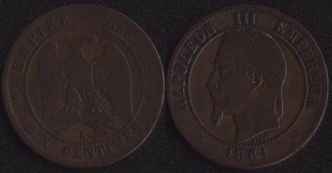 Франция 10 сантим 1861