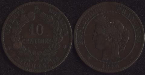 Франция 10 сантим 1870