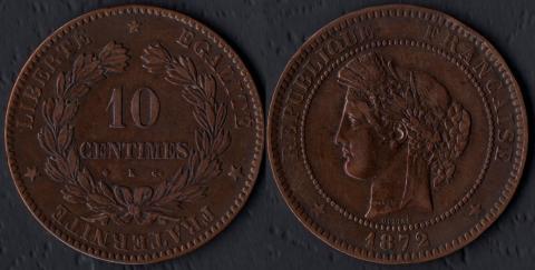 Франция 10 сантим 1872