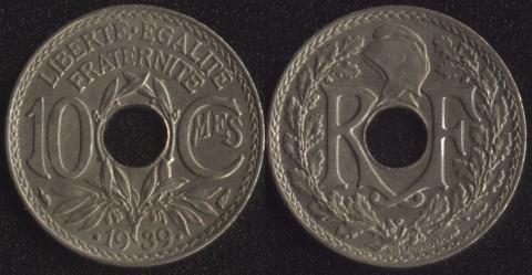 Франция 10 сантим 1939
