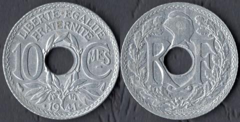 Франция 10 сантим 1941 (точки+черта)