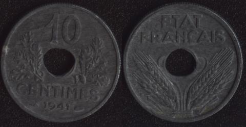 Франция 10 сантим 1941 Виши