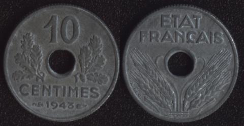 Франция 10 сантим 1943 Виши