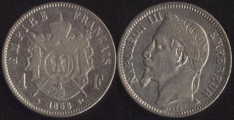 Франция 1 франк 1868