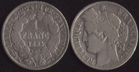 Франция 1 франк 1894
