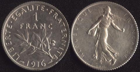 Франция 1 франк 1916