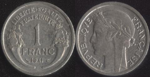 Франция 1 франк 1941 (алюминий)