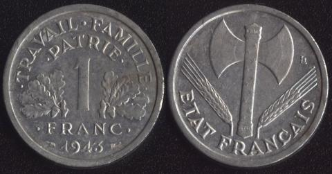 Франция 1 франк 1943