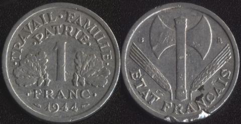 Франция 1 франк 1944 В