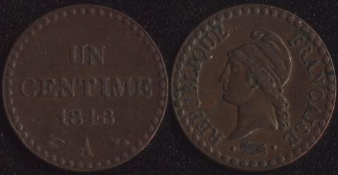 Франция 1 сантим 1848