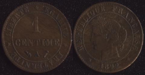 Франция 1 сантим 1892