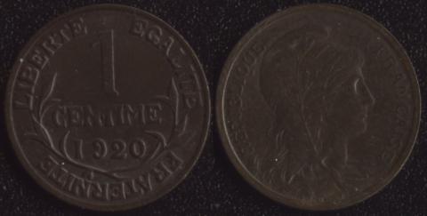 Франция 1 сантим 1920