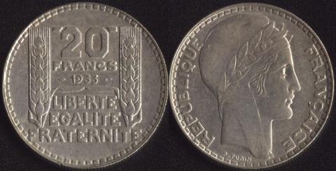 Франция 20 франков 1933