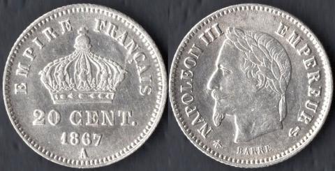 Франция 20 сантим 1867 (A)