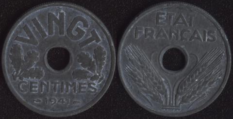 Франция 20 сантим 1941 Виши