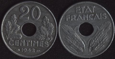 Франция 20 сантим 1942 Виши