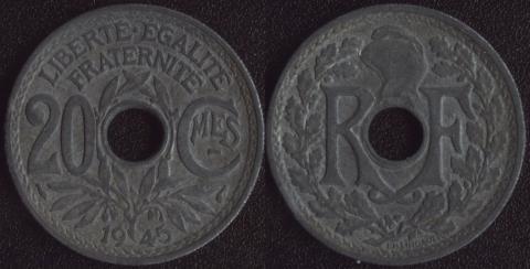 Франция 20 сантим 1945