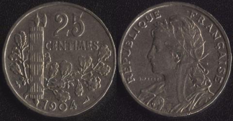 Франция 25 сантим 1904