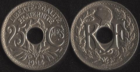 Франция 25 сантим 1914