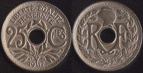 Франция 25 сантим 1917