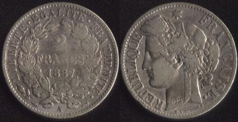 Франция 2 франка 1887