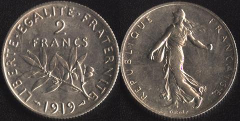 Франция 2 франка 1919