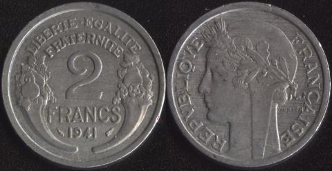 Франция 2 франка 1941 алюминий