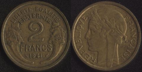 Франция 2 франка 1941 (алюминиевая бронза)