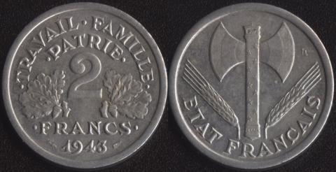 Франция 2 франка 1943 aUNC! (50)