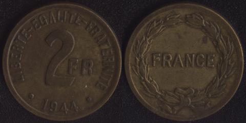 Франция 2 франка 1944