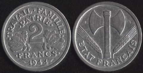 Франция 2 франка 1944 B