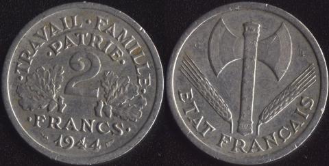 Франция 2 франка 1944 C