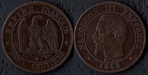 Франция 2 сантима 1854