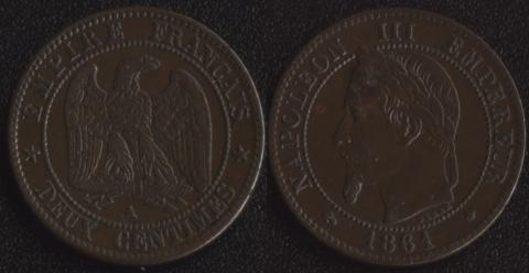 Франция 2 сантима 1861