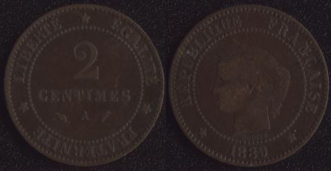 Франция 2 сантима 1889