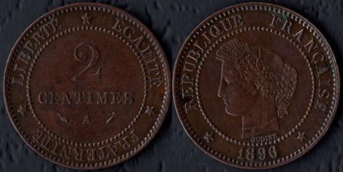 Франция 2 сантима 1896