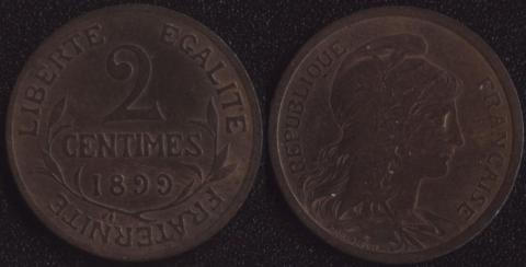 Франция 2 сантима 1899