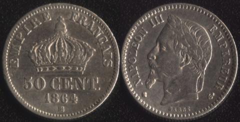 Франция 50 сантим 1864