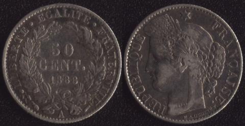 Франция 50 сантим 1888