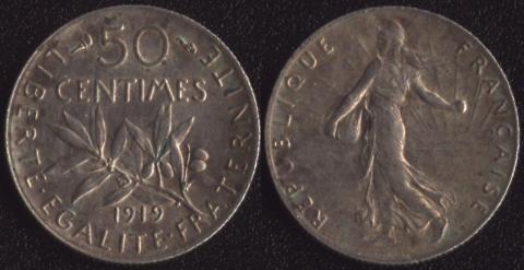 Франция 50 сантим 1919
