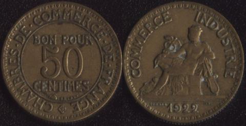 Франция 50 сантим 1922