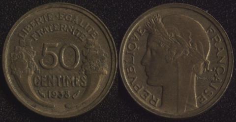 Франция 50 сантим 1938