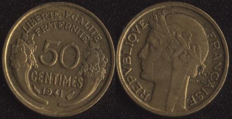 Франция 50 сантим 1941 алюминий-бронза